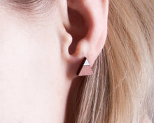 Load image into Gallery viewer, Triangle Pink White Stud Earrings