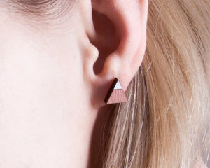 Triangle Pink White Stud Earrings