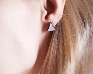 Triangle Silver White Stud Earrings