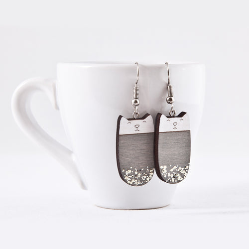 Gray Cat Dangle Earrings Sparkle