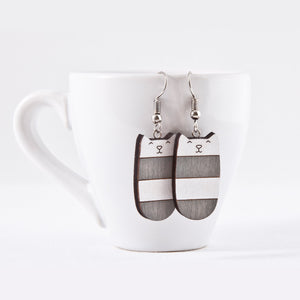 Dangle Cat Earrings Gray White, Cat Lover Gift