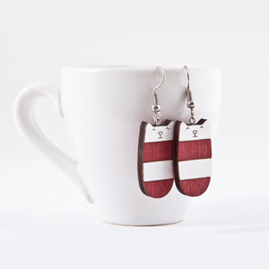Dangle Cat Earrings Red White