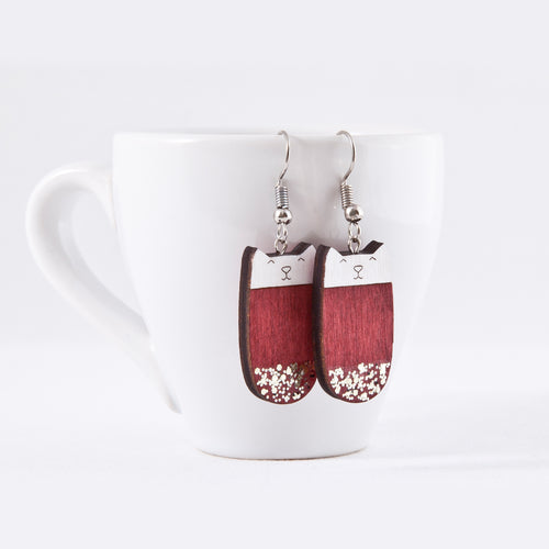 Red Cat Dangle Earrings Sparkle