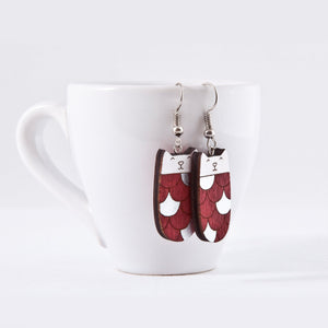 Red Silver Cat Dangle Earrings Wooden Mermaid