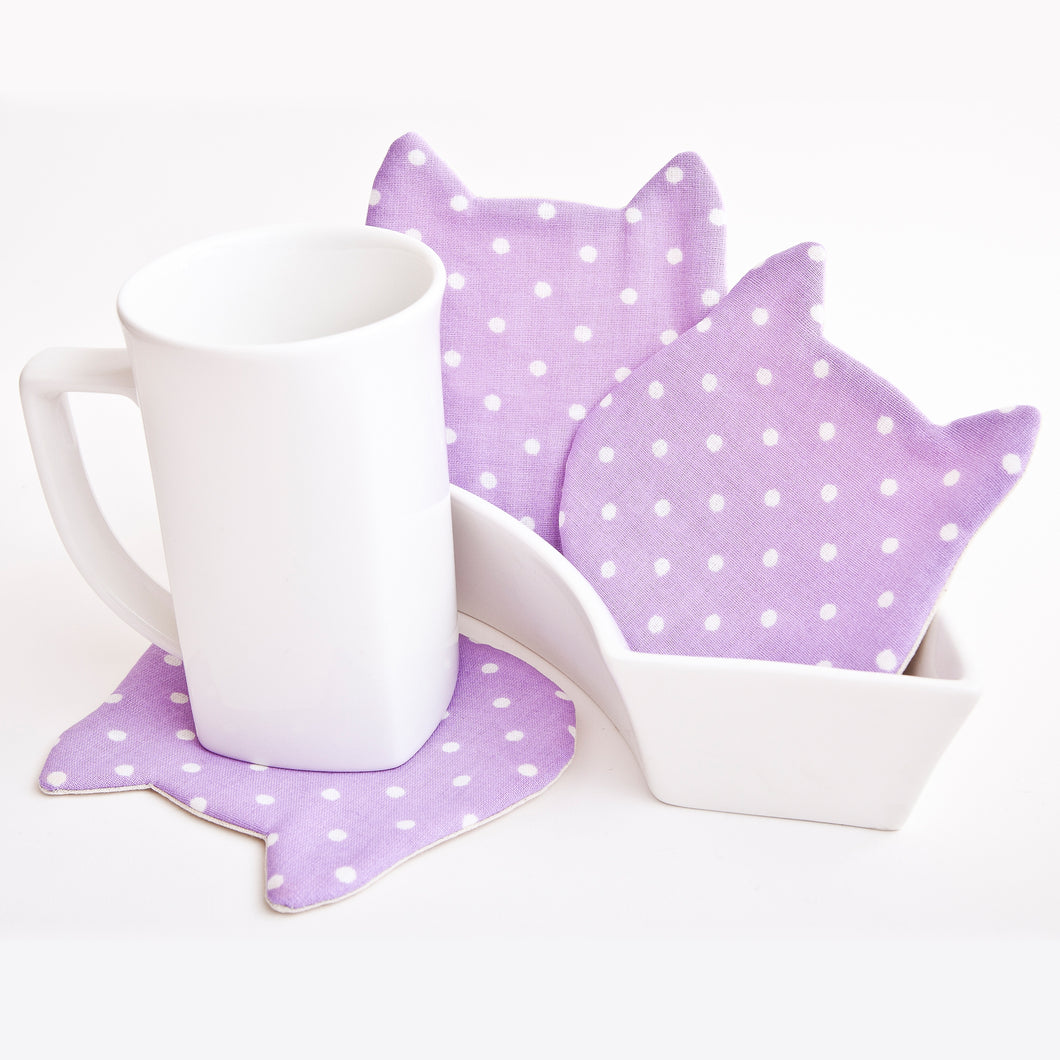 Purple Dotted Drink Coasters Set, Cat Lover Gift, Cat Absorbent Coasters, Violet Fabric Coasters, Housewarming Gifts, Kitchen Accessory