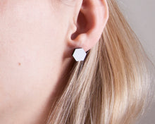 Load image into Gallery viewer, Hexagon Stud Earrings White