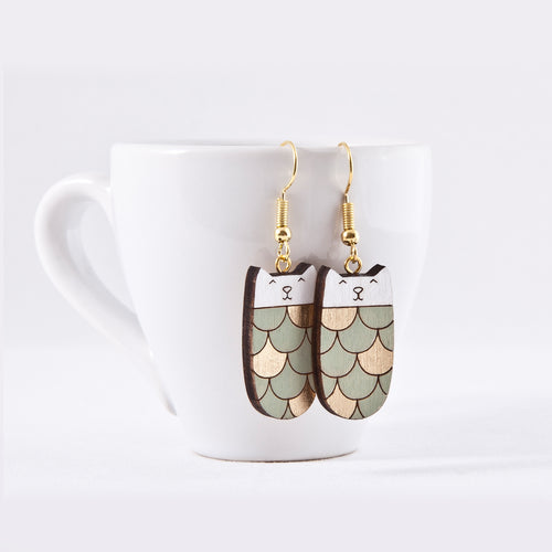 Cat Mint Gold Dangle Earrings