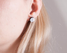 Load image into Gallery viewer, Circle Stud Earrings Silver White