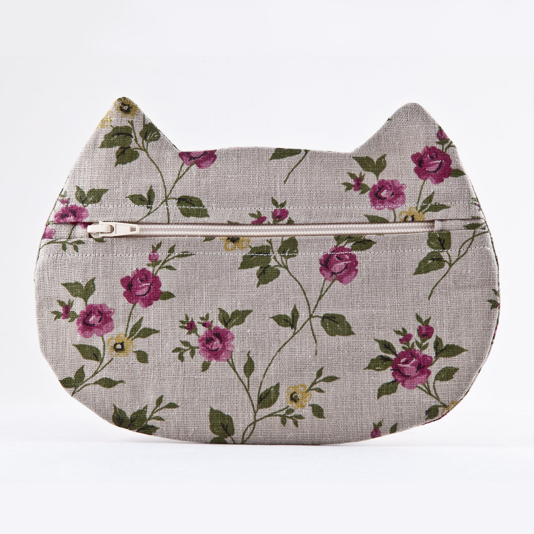 Cat Cosmetic Bag Linen Floral