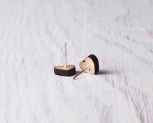 Wooden Silver White Heart Studs