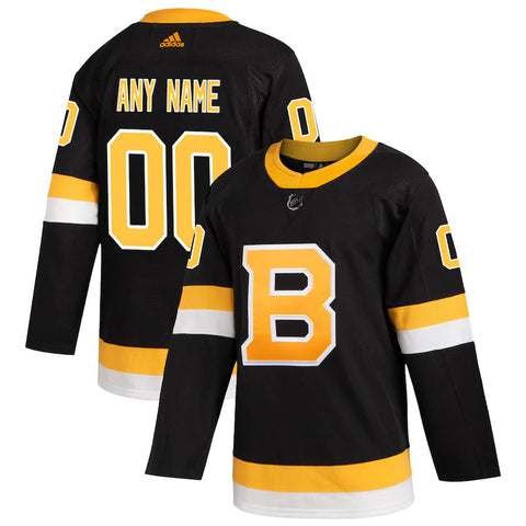 Customized Boston Bruins adidas Black Alternate - Authentic Team Jersey