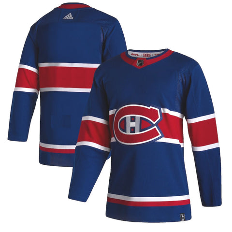 Customized Men's Montreal Canadiens Adidas Authentic Reverse Retro Jersey - Blue