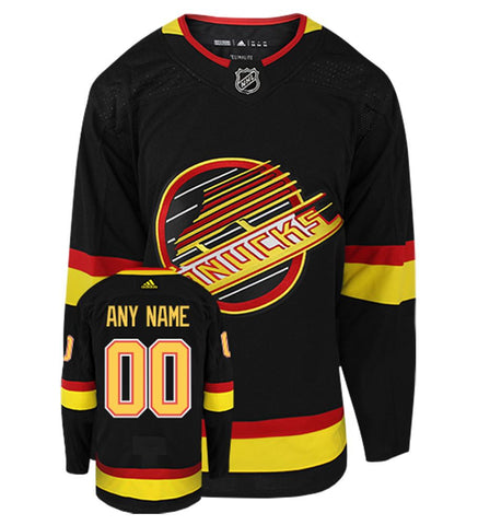 Customized Vancouver Canucks adidas Black 2019/20 Flying Skate - Authentic Player Jersey