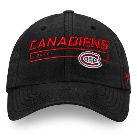 Montreal Canadiens Fanatics Authentic Pro Rinkside Structured Adjustable Wordmark Cap - Black