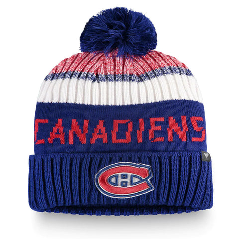 Men's Montreal Canadiens Fanatics Branded Blue/Red Authentic Pro Rinkside Goalie Cuffed Knit Hat with Pom