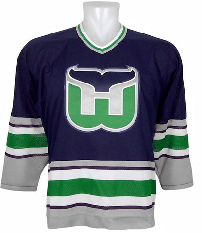 Customized Hartford Whalers Vintage Dark 1992 Replica Jersey - CCM