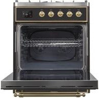 "ILVE 30"" Majestic II Dual Fuel Liquid Propane Range with Brass Trim in Glossy Black (UM30DNE3BKGLP) - Shop For Kitchens"