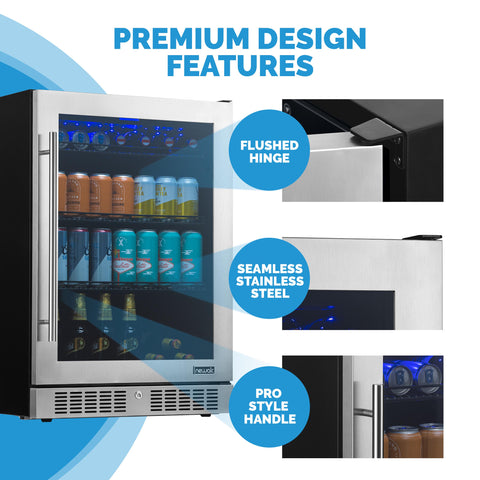 "NewAir 24"" Built-in Premium 224 Can Beverage Fridge with Color Changing LED Lights (NBC224SS00) - Shop For Kitchens"