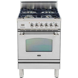 "ILVE 24"" Nostalgie Series Gas Range with Chrome Trim in Stainless Steel (UPN60DVGGIX) - Shop For Kitchens"