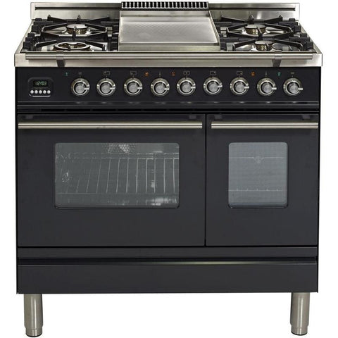 "Image of ILVE 36"" Professional Plus Series Dual Fuel Liquid Propane Range with Chrome Trim in Matte Graphite (UPDW90FDMPMLP) - Shop For Kitchens"