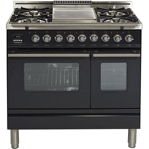 "ILVE 36"" Professional Plus Series Dual Fuel Liquid Propane Range with Chrome Trim in Matte Graphite (UPDW90FDMPMLP) - Shop For Kitchens"