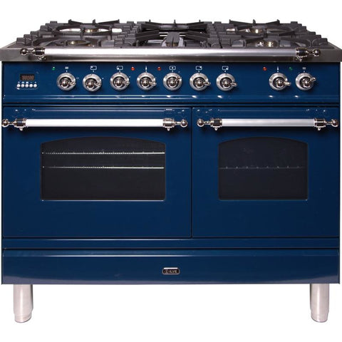"Image of ILVE 40"" Nostalgie Series Dual Fuel Liquid Propane Range with 5 Sealed Brass Burners 3.55 cu. ft. Total Capacity True Convection Oven Griddle with Chrome Trim in Blue (UPDN100FDMPBLXLP) - Shop For Kitchens"