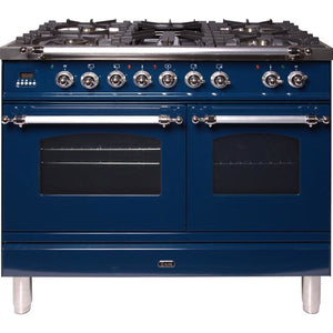 "ILVE 40"" Nostalgie Series Dual Fuel Liquid Propane Range with 5 Sealed Brass Burners 3.55 cu. ft. Total Capacity True Convection Oven Griddle with Chrome Trim in Blue (UPDN100FDMPBLXLP) - Shop For Kitchens"