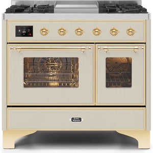 "ILVE 40"" Majestic II Series Dual Fuel Liquid Propane Range with 6 Sealed Burners and Griddle 3.82 cu. ft. Total Oven Capacity TFT Oven Control Display Brass Trim in Antique White (UMD10FDNS3AWGLP) - Shop For Kitchens"