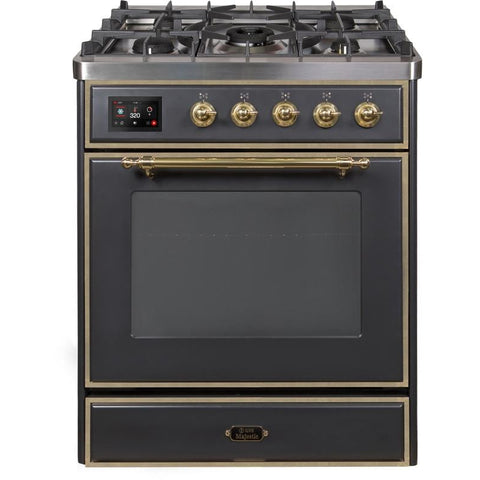 "Image of ILVE 30"" Majestic II Dual Fuel Range with Brass Trim in Matte Graphite (UM30DNE3MGG) - Shop For Kitchens"
