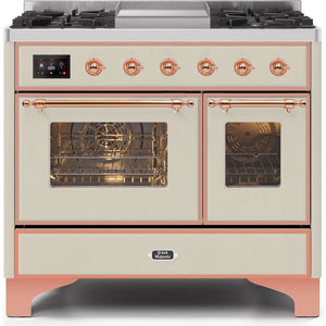 "ILVE 40"" Majestic II Series Dual Fuel Natural Gas Range with 6 Sealed Burners and Griddle 3.82 cu. ft. Total Oven Capacity TFT Oven Control Display Copper Trim in Antique White (UMD10FDNS3AWP) - Shop For Kitchens"