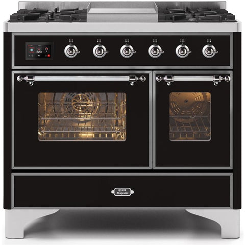 "Image of ILVE 40"" Majestic II Series Dual Fuel Natural Gas Range with 6 Sealed Burners and Griddle 3.82 cu. ft. Total Oven Capacity TFT Oven Control Display Chrome Trim in Glossy Black (UMD10FDNS3BKC) - Shop For Kitchens"