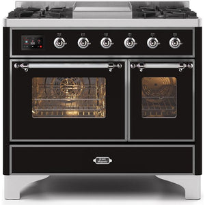"ILVE 40"" Majestic II Series Dual Fuel Natural Gas Range with 6 Sealed Burners and Griddle 3.82 cu. ft. Total Oven Capacity TFT Oven Control Display Chrome Trim in Glossy Black (UMD10FDNS3BKC) - Shop For Kitchens"