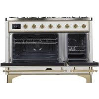 "ILVE 48"" Majestic II Dual Fuel Liquid Propane Range with 8 Burners and Brass Trim in White (UM12FDNS3WHGLP) - Shop For Kitchens"