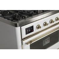 "Image of ILVE 48"" Majestic II Dual Fuel Liquid Propane Range with 8 Burners and Brass Trim in White (UM12FDNS3WHGLP) - Shop For Kitchens"