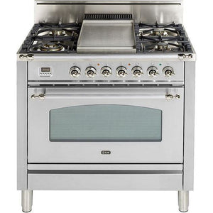 "ILVE 30"" Nostalgie Series Freestanding Gas Range with 5 Burners 3 cu. ft. Oven Capacity Digital Clock and Timer Full Width Warming Drawer 2 Oven Racks and Oiled Bronze Trim: True White (UPN76DVGGBY) - Shop For Kitchens"