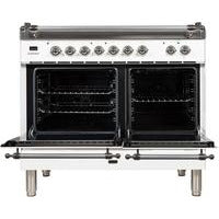 "Image of ILVE 40"" Nostalgie Series Dual Fuel Liquid Propane Range with 5 Sealed Brass Burners 3.55 cu. ft. Total Capacity True Convection Oven Griddle with Chrome Trim in White (UPDN100FDMPBXLP) - Shop For Kitchens"