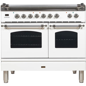 "ILVE 40"" Nostalgie Series Dual Fuel Liquid Propane Range with 5 Sealed Brass Burners 3.55 cu. ft. Total Capacity True Convection Oven Griddle with Chrome Trim in White (UPDN100FDMPBXLP) - Shop For Kitchens"