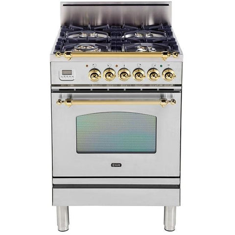 "Image of ILVE 24"" Nostalgie Series Gas Range with Brass Trim in Stainless Steel (UPN60DVGGI) - Shop For Kitchens"