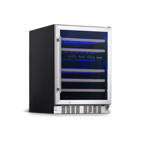 "NewAir 24"" Built-in 46 Bottle Dual Zone Wine Fridge with Recessed Kickplate in Stainless Steel (NWC046SS01) - Shop For Kitchens"