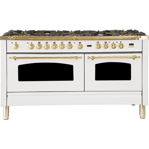 "Image of ILVE 60"" Nostalgie Series Dual Fuel Liquid Propane Range with 8 Sealed Burners 5.99 cu. ft. Total Capacity True Convection Oven Griddle with Brass Trim in White (UPN150FDMPBLP) - Shop For Kitchens"