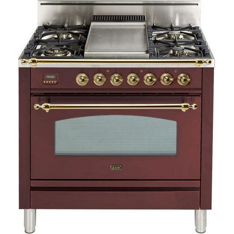 "Image of ILVE 36"" Nostalgie Series Gas Range with 5 Burners Griddle 3.5 cu. ft. Oven Capacity Dishwarming Drawer Digital Clock and Timer Rotisserie  Brass Trim in Burgundy (UPN90FDVGGRB) - Shop For Kitchens"