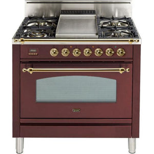 "ILVE 36"" Nostalgie Series Gas Range with 5 Burners Griddle 3.5 cu. ft. Oven Capacity Dishwarming Drawer Digital Clock and Timer Rotisserie  Brass Trim in Burgundy (UPN90FDVGGRB) - Shop For Kitchens"