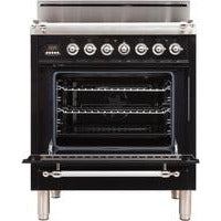"ILVE 30"" Nostalgie Series Freestanding Gas Range with 5 Burners 3 cu. ft. Oven Capacity Digital Clock and Timer Full Width Warming Drawer 2 Oven Racks and Chrome Trim: Gloss Black (UPN76DVGGNXLP) - Shop For Kitchens"