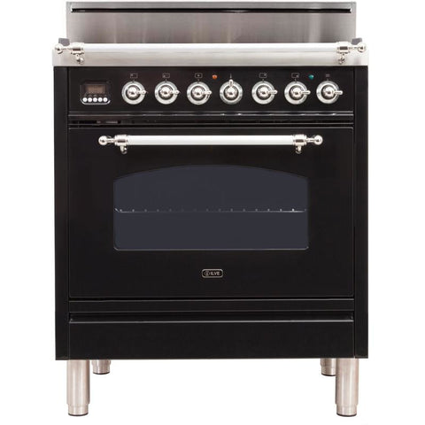 "Image of ILVE 30"" Nostalgie Series Freestanding Gas Range with 5 Burners 3 cu. ft. Oven Capacity Digital Clock and Timer Full Width Warming Drawer 2 Oven Racks and Chrome Trim: Gloss Black (UPN76DVGGNXLP) - Shop For Kitchens"