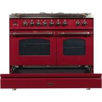 "ILVE 40"" Nostalgie Series Dual Fuel Natural Gas Range with 5 Sealed Brass Burners 3.55 cu. ft. Total Capacity True Convection Oven Griddle with Bronze Trim in Burgundy (UPDN100FDMPRBY) - Shop For Kitchens"