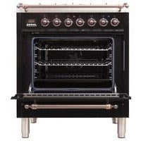 "ILVE 30"" Nostalgie Dual Fuel Liquid Propane Range with 5 Sealed Burners 3 cu. ft. Capacity True Convection Oven with Bronze Trim in Glossy Black (UPN76DMPNYLP) - Shop For Kitchens"