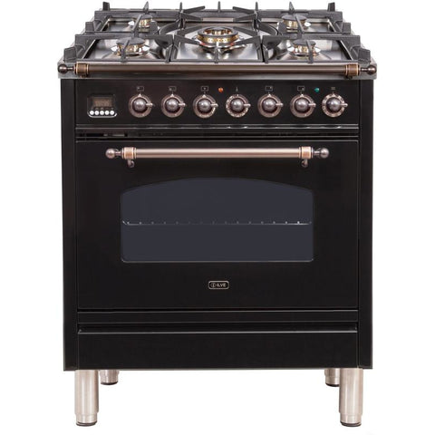 "Image of ILVE 30"" Nostalgie Dual Fuel Liquid Propane Range with 5 Sealed Burners 3 cu. ft. Capacity True Convection Oven with Bronze Trim in Glossy Black (UPN76DMPNYLP) - Shop For Kitchens"