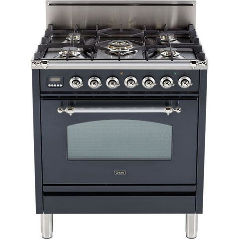"Image of ILVE 30"" Nostalgie Series Freestanding Gas Range with 5 Burners 3 cu. ft. Oven Capacity and Chrome Trim in Matte Graphite (UPN76DVGGMX) - Shop For Kitchens"