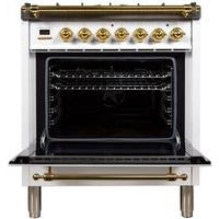 "ILVE 30"" Nostalgie Series Dual Fuel Natural Gas Range with 5 Sealed Burners 3 cu. ft. Capacity True Convection Oven with Brass Trim in White (UPN76DMPB) - Shop For Kitchens"