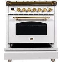 "Image of ILVE 30"" Nostalgie Series Dual Fuel Natural Gas Range with 5 Sealed Burners 3 cu. ft. Capacity True Convection Oven with Brass Trim in White (UPN76DMPB) - Shop For Kitchens"